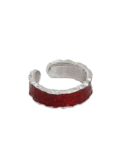 Platinum [red] 925 Sterling Silver Enamel Irregular Vintage Band Ring